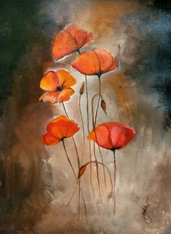 Flower painting (ART_2979_25800) - Handpainted Art Painting - 12in X 16in