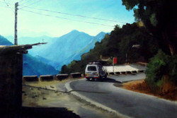 Landscape1 (ART_4179_25805) - Handpainted Art Painting - 26in X 18in (Framed)