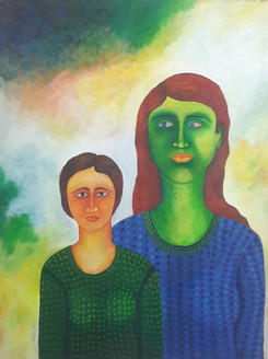 Relationships (ART_4176_25797) - Handpainted Art Painting - 35in X 47in