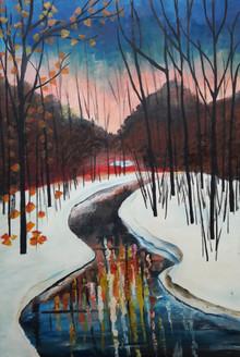Winters (ART_4176_25793) - Handpainted Art Painting - 24in X 35in (Framed)