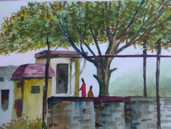 Village scene (ART_425_25825) - Handpainted Art Painting - 10in X 9in