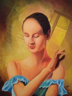 La Ballerine (ART_3588_25828) - Handpainted Art Painting - 12in X 16in (Framed)