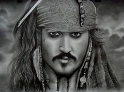 Jack Sparrow (ART_4179_25801) - Handpainted Art Painting - 16in X 12in (Framed)
