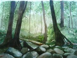 Evergreen (ART_425_5740) - Handpainted Art Painting - 15in X 10in