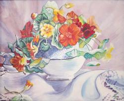 Flower vase (ART_4201_25871) - Handpainted Art Painting - 15in X 13in (Framed)