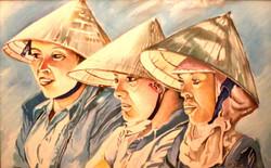 Nepali women (ART_4201_25868) - Handpainted Art Painting - 25in X 19in (Framed)