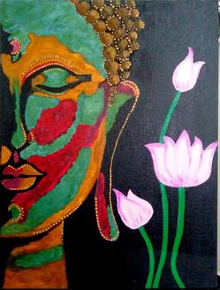 Buddha (ART_4201_25867) - Handpainted Art Painting - 14in X 18in