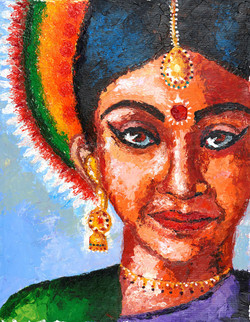Indian classical dancer (ART_4192_25841) - Handpainted Art Painting - 15in X 20in