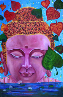 Buddha being blissful in all seasons (ART_4192_25837) - Handpainted Art Painting - 20in X 31in