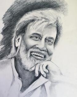 Indian actor Rajanikanth  (ART_4220_25892) - Handpainted Art Painting - 12in X 17in
