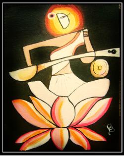 Saraswati Devi - 10in X 12in (Border Framed),ART_RIAA06_1012,Acrylic Colors,Devi,Artist RAJNI AYAPILLA ,Goddess Saraswati,Education,Museum Quality - 100% Handpainted