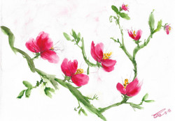 Red Vine (ART_4123_25946) - Handpainted Art Painting - 9in X 12in
