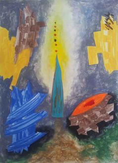 Devotion Shaken in Utrakhand-4 (ART_4214_25995) - Handpainted Art Painting - 22in X 30in