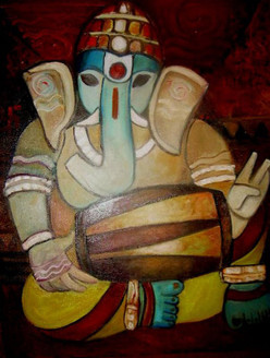 Ganapati02  - 24in X 30in,ART_SAME02_2430,Artist Shoma Mukherjee,God,Ganesha,Bappa,Ganapati,Ganesha with music instrument  - Buy Paintings Online in India