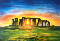 Sunset through Stonehenge (ART_4209_25980) - Handpainted Art Painting - 15in X 11in