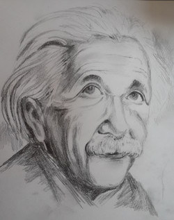 A Famous Scientist (ART_4209_25907) - Handpainted Art Painting - 14in X 10in