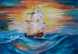 Sinking Ship (ART_4209_25905) - Handpainted Art Painting - 14in X 12in