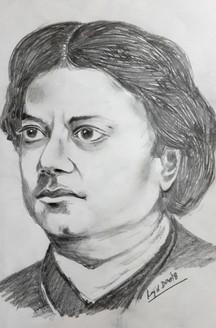 Swami Vivekananda Sketch portrait (ART_4209_25876) - Handpainted Art Painting - 8in X 12in