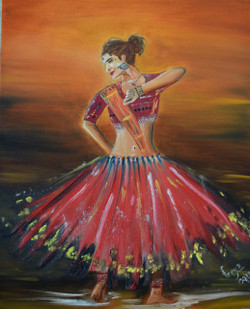 Traditional dance (ART_4200_25861) - Handpainted Art Painting - 20in X 16in