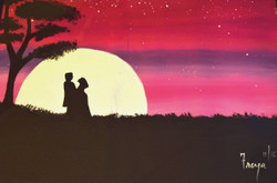 Silhouette of couple (ART_4200_25857) - Handpainted Art Painting - 24in X 18in