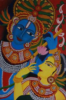Radha Krishna (ART_4187_25823) - Handpainted Art Painting - 16in X 24in (Framed)