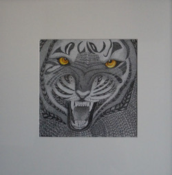 TIGER (ART_4187_25822) - Handpainted Art Painting - 19in X 19in (Framed)