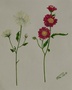Little Miss Daisies (ART_4123_25581) - Handpainted Art Painting - 8in X 10in