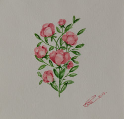 Bunch of Blushing Blossoms (ART_4123_25580) - Handpainted Art Painting - 8in X 8in