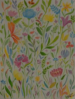 Pattern Garden (ART_4123_25574) - Handpainted Art Painting - 8in X 11in