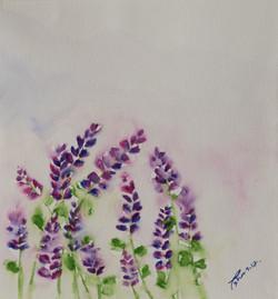 Lavenders In The Rain (ART_4123_25573) - Handpainted Art Painting - 9in X 9in