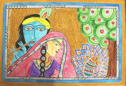 Radha krishna (ART_4246_26066) - Handpainted Art Painting - 22in X 15in