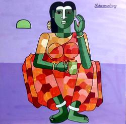 Vanitha (ART_938_26057) - Handpainted Art Painting - 36in X 36in