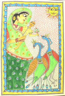Mother child in Madhubani style (ART_4246_26056) - Handpainted Art Painting - 14in X 21in