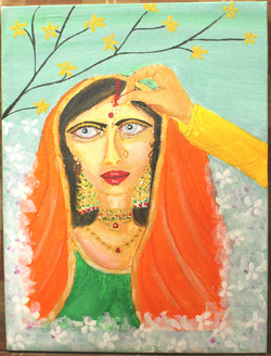 Indian bride shy and anxious. (ART_4246_26054) - Handpainted Art Painting - 12in X 16in