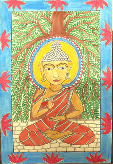 Lord buddha (ART_4246_26053) - Handpainted Art Painting - 14in X 22in