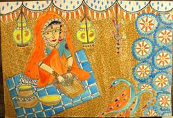 Rural lady working. (ART_4246_26051) - Handpainted Art Painting - 15in X 22in