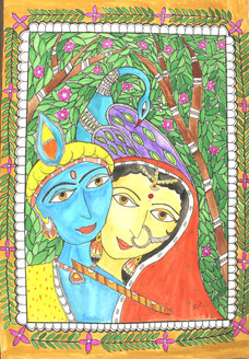 Radha krishna (ART_4246_26050) - Handpainted Art Painting - 15in X 22in