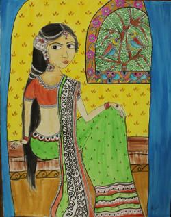 Beautiful woman. (ART_4246_26049) - Handpainted Art Painting - 16in X 22in