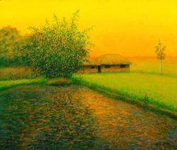 Twilight (ART_4221_26058) - Handpainted Art Painting - 24in X 20in