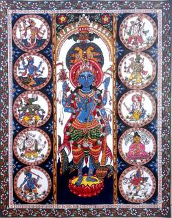 Das-avatar (patachitra of god carnation)  (ART_4201_26046) - Handpainted Art Painting - 24in X 30in
