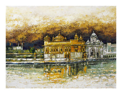 The Golden Temple_2 (ART_2571_25901) - Handpainted Art Painting - 32in X 42in