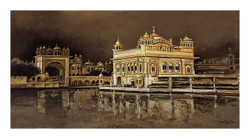 The Golden Temple_1 (ART_2571_25900) - Handpainted Art Painting - 24in X 36in
