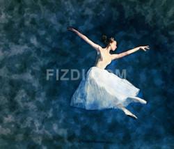 Young Ballerina Dancer 1 (PRT_46) - Canvas Art Print - 25in X 21in