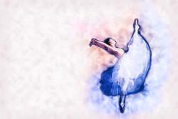 Young Ballerina Dancer 2 (PRT_45) - Canvas Art Print - 32in X 21in