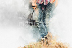 Photographer (PRT_48) - Canvas Art Print - 32in X 21in