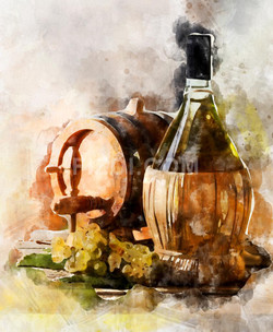 Bottle Of Wine (PRT_51) - Canvas Art Print - 21in X 26in