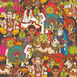 Indian Culture (PRT_59) - Canvas Art Print - 50in X 50in