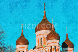 Domes Of Alexander Nevsky Russia (PRT_67) - Canvas Art Print - 32in X 21in