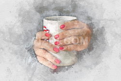 Cup Of Coffee With Beautiful Red Manicure (PRT_69) - Canvas Art Print - 32in X 21in