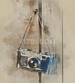 Old Camera (PRT_71) - Canvas Art Print - 21in X 23in